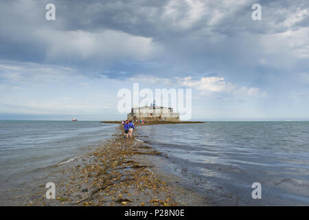 Bembridge and St Helens Fort Walk 2017 on the Isle of Wight, UK. The fort is located in the channel of water known as the Solent. - Stock Photo