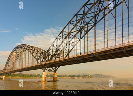 Sagaing, Irrawaddy (Ayeyarwady) River, new bridge, Mandalay Region, Myanmar (Burma) - Stock Photo