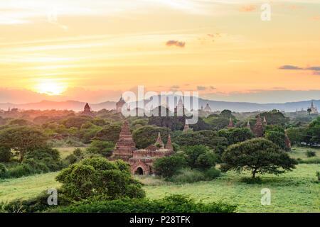 Bagan, Thatbyinnyu Temple, Ananda Temple, temples in Old Bagan, stupa Tan Kyi Paya atop mountain, Mandalay Region, Myanmar (Burma)