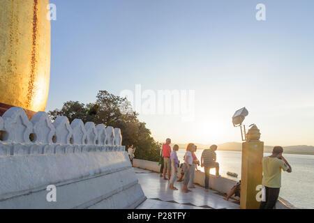 Bagan, Bupaya Pagoda in Old Bagan, Irrawaddy (Ayeyarwady) River, Mandalay Region, Myanmar (Burma) - Stock Photo