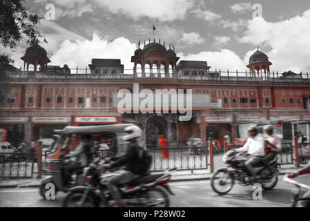 Jaipur - a city in India, Rajasthan. black and red and white photo - Stock Photo