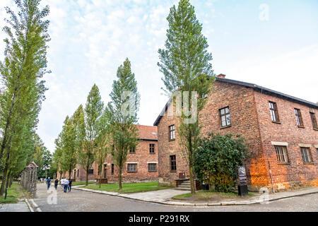 Historic buildings in the Auschwitz I (Auschwitz-Birkenau), former Nazi concentration camp near Oswiecim city, Poland - Stock Photo