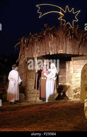 Live Christmas Nativity Scene in Zagreb - Stock Photo