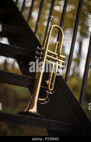 Autumn jazz instrument trumpet standing alone in nature - Stock Photo