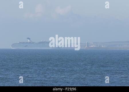Cruise ship entering the River TYne - Stock Photo
