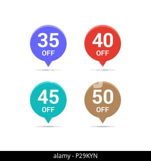 Sale discount icons. Special offer price signs. 35, 40, 45 and 50 percent off reduction symbols. Colored vector flat elements badges - Stock Photo