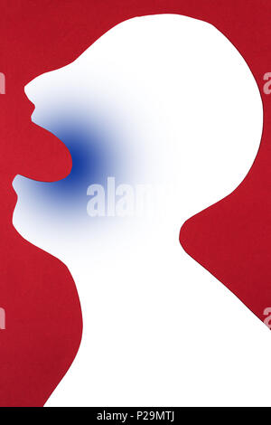 concept of disease diagnosis and pain localization on silhouette - contour of abstract white man with opened mouth, usage of anesthesia in dentistry,  - Stock Photo