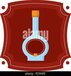 emblem with alcohol liquor bottle drink - Stock Photo