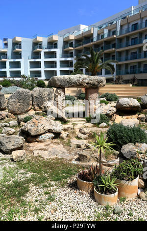 The Bugibba Temple, a megalithic temple in the grounds of the Dolman Hotel, Qawra town, Malta - Stock Photo