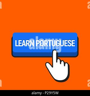 Hand Mouse Cursor Clicks the Learn Portuguese Button. Pointer Push Press Button Concept. - Stock Photo