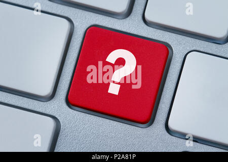 Question mark key, button on the computer keyboard - Stock Photo