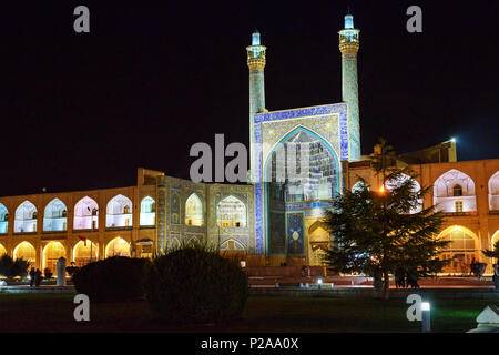 Shah Mosque or Imam Mosque in south side of Naghsh-e Jahan Square at night. Isfahan. Iran - Stock Photo