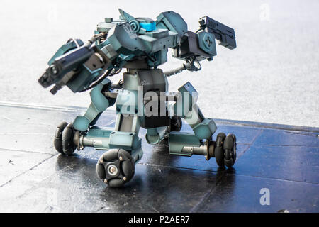 Hanover, Germany. 13th June, 2018. Ganker robot, fighting robot, combat robot by Shenzen Gjs Technology. At CEBIT 2018, international computer expo and Europe's Business Festival for Innovation and Digitization: Credit: Christian Lademann / Alamy Live News - Stock Photo