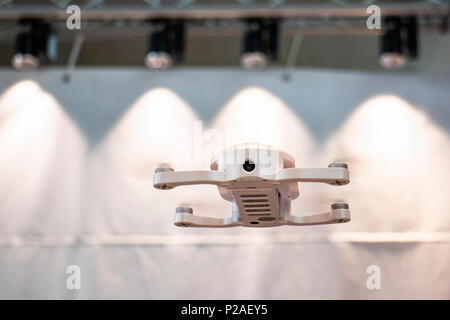 Hanover, Germany. 13th June, 2018. Pocket drone DOBBY by Zerotech, China, CEBIT 2018, international computer expo and Europe's Business Festival for Innovation and Digitization: Credit: Christian Lademann / Alamy Live News - Stock Photo