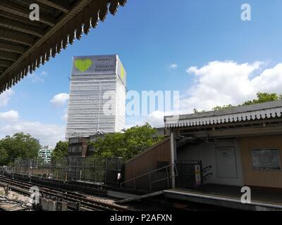 London, UK. 14th June 2018. Grenfell Tower tribute in London Credit: Nastia M/Alamy Live News - Stock Photo