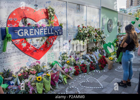 London, UK. 14th Jun, 2018. The first anniversary of the Grenfell Tower Disaster Credit: Guy Bell/Alamy Live News - Stock Photo
