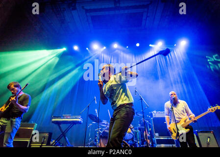 Edinburgh, UK. 14th June 2018. Bristol band IDLES onstage at the Usher Hall in Edinburgh, Scotland. The band are about to release their second album 'Joy as an Act of Resistance' on Partisan Records on 31 August 2018. - Stock Photo