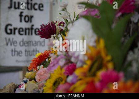 London UK 14th June 2018  One year anniversary of the Grenfell Tower fire. Credit: Thabo Jaiyesimi/Alamy Live News - Stock Photo