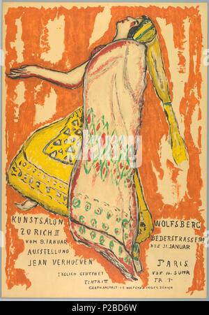 .  English: Poster, Ausstellung Jean Verhoeven, Kunst Salon Wolfburg, ca. 1915 .  English: Dancing woman, facing left, wearing a yellow skirt and hat, and a cream red and green cape. Text in black at bottom left and right reads across central figure: 'KUNSTSALON WOLFSBERG/ ZURICH II BEDERSTRASSE 109/ VOM 9, JANUAR BIS 31 JANUAR/ JEAN VERHOEVEN PARIS/ IAGLICH GEDFNET VON 10-5UHR/ EINTRI II FR 1-/ GRAPH-ANSTALT J.E. WOLFENSBERGER ZURICH.' . circa 1915 232 Poster, Ausstellung Jean Verhoeven, Kunst Salon Wolfburg, ca. 1915 (CH 18731769) - Stock Photo