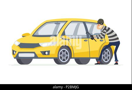 Car thief - cartoon people characters illustration isolated on white background. High quality composition with a criminal, burglar breaking into a yel - Stock Photo