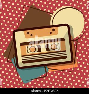 retro vintage music cassette recorder tape memphis background vector illustration - Stock Photo