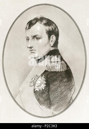 Napoléon Bonaparte, 1769 – 1821. French statesman, military leader and Emperor of the French.  Illustration by Gordon Ross, American artist and illustrator (1873-1946), from Living Biographies of Famous Rulers. - Stock Photo