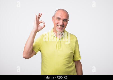 A handsome man in checkered shirt isolated on gray background showing ok sign - Stock Photo