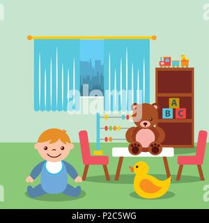 Baby Girl Rocking Horse Blocks Toys Vector Illustration Stock Vector
