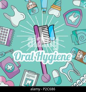 oral hygiene brushing paste dental care - Stock Photo