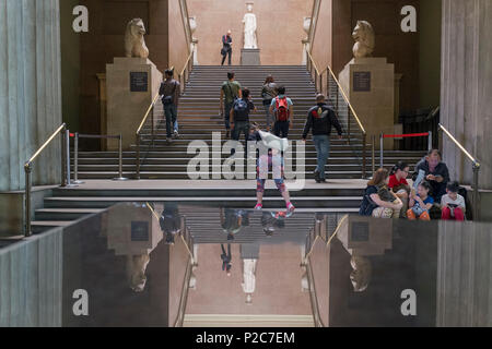 Visitors and the South Stairs of the British Museum, on 12th June 2018, in London, England. - Stock Photo