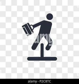 Businessman jumping an obstacle vector icon isolated on transparent background, Businessman jumping an obstacle logo concept - Stock Photo