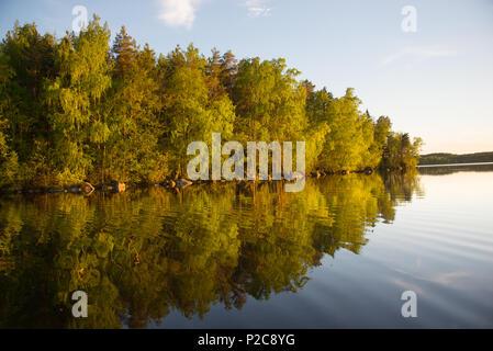 Golden reflection. Lake Kukkia, Luopioinen, Finland.järvimaisema - Stock Photo