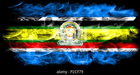 East African Community smoke flag, EAC flag - Stock Photo