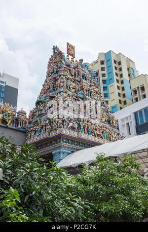 The ornate Sri Veeramakaliamman Hindu Temple in Serangoon Road in the Little India district of Singapore - Stock Photo