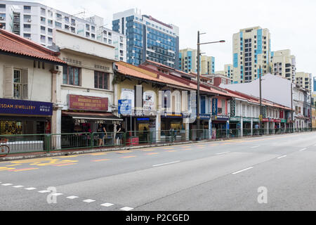 Serangoon Road in the Little India district of Singapore which is known for indian restaurants,malls, jewellery shops and tailors. - Stock Photo