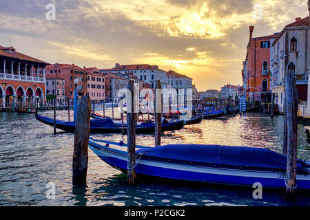 Sunset in Canal Grande, Venice, Italy - Stock Photo