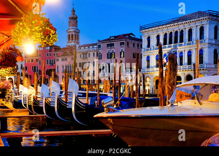 Gondolas in Canal Grande, Venice, Italy, - Stock Photo