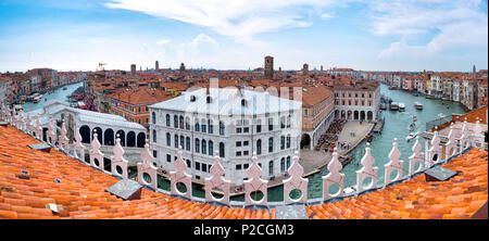 View from the top of the Fondaco dei Tedeschi, Venice Italy - Stock Photo