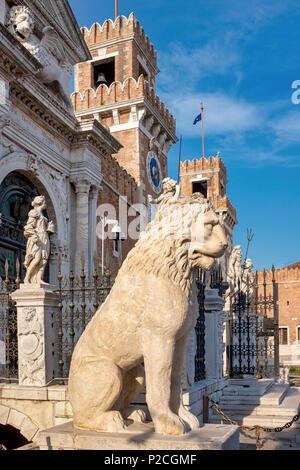 Piraeus lion on display at the Venician Arsenal, Venice, Italy - Stock Photo