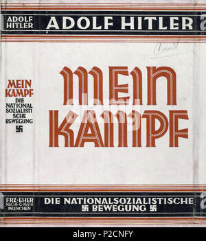 . English: Dust jacket of the book Mein Kampf, written by Adolf Hitler. Courtesy of the New York Public Library Digital Collection. between 1926 and 1927. Unknown author of dust jacket; Adolf Hitler author of volume 34 Mein Kampf dust jacket - Stock Photo