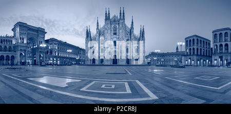 Milan. Panoramic cityscape image of Milan, Italy with Milan Cathedral during sunrise. - Stock Photo
