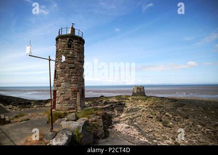 Near Naze lighthouse and lighthouse base Heysham port morcambe bay Lancashire England UK - Stock Photo