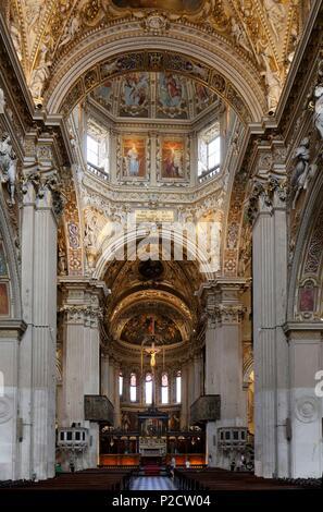 Italy, Lombardy, Bergamo, the Citta Alta (upper citty), the Basilica di Santa Maria Maggiore - Stock Photo