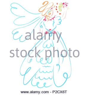 Bride in wedding dress and veil throws a bouquet of flowers - Stock Photo