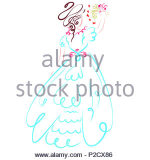 A lady in a festive beautiful dress waves a bouquet of flowers or throws it at a wedding - Stock Photo