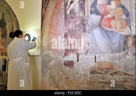 restorations of the frescos (16th century), on the right Madonna del Latte (14th century) in the church of Santa Marta al Collegio Romano, Rome, Italy - Stock Photo