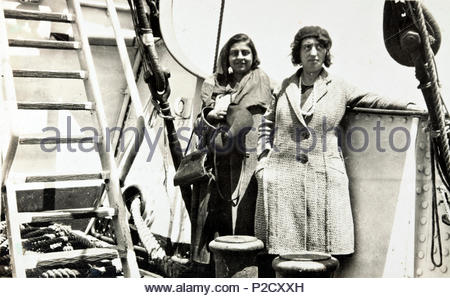 two women on a big ship 1930s - Stock Photo