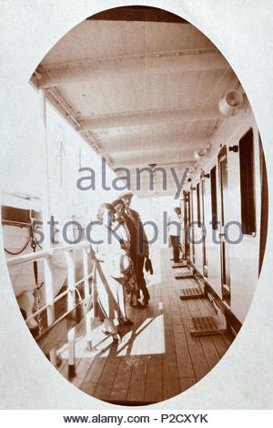 people on the cabin deck of a large cruise passenger ship 1930s - Stock Photo