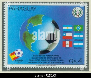 . Deutsch: Briefmarke aus Paraguay zur Fußball-Weltmeisterschaft 1982 in Spanien English: Stamp of Paraguay of the 1982 FIFA World Cup in Spain . 1982. uploaded by R-E-AL (talk | contribs | Gallery)(German ) 1 1982-paraguay-wm-spain-1-ball - Stock Photo