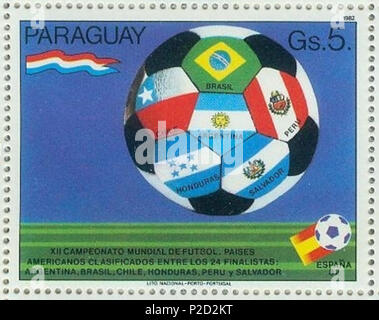 . Deutsch: Briefmarke aus Paraguay zur Fußball-Weltmeisterschaft 1982 in Spanien English: Stamp of Paraguay of the 1982 FIFA World Cup in Spain . 1982. uploaded by R-E-AL (talk | contribs | Gallery)(German ) 2 1982-paraguay-wm-spain-2-ball - Stock Photo